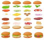 Hamburger degli alimenti a rapida preparazione di vettore dell'hamburger o costruttore del cheeseburger con l'illustrazione del p illustrazione vettoriale
