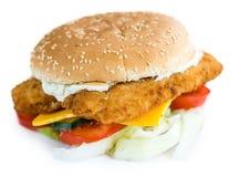 Hamburger dei pesci isolato su bianco Fotografia Stock