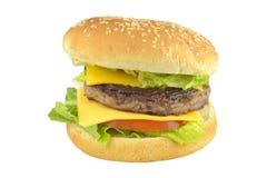 Hamburger, hamburger del formaggio del manzo con il pomodoro Fotografia Stock Libera da Diritti