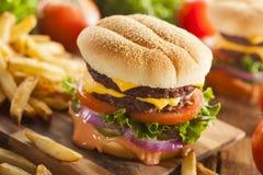 Hamburger del formaggio del manzo con il pomodoro della lattuga Immagini Stock Libere da Diritti