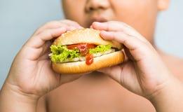Hamburger del formaggio del pollo sulla mano grassa obesa del ragazzo Fotografie Stock
