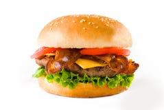 Hamburger del formaggio della pancetta affumicata immagine stock libera da diritti