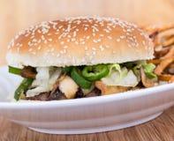 Hamburger del fungo e del formaggio Immagini Stock