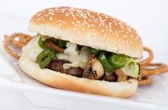 Hamburger del fungo e del formaggio Fotografie Stock
