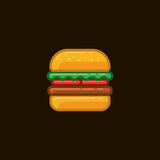 Hamburger del panino dell'icona di vettore con carne e le verdure su fondo scuro Fotografie Stock