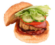 Hamburger del pollo con il percorso di residuo della potatura meccanica Immagine Stock Libera da Diritti
