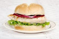 Hamburger del pollo del barbecue Fotografie Stock
