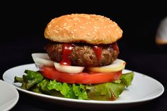 Hamburger del vitello con insalata Fotografie Stock