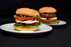 Hamburger del vitello con insalata Immagini Stock