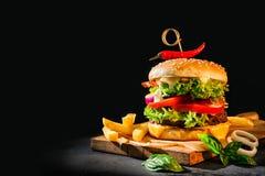 Hamburger delizioso con le patate fritte fotografia stock libera da diritti
