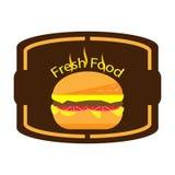 Hamburger dell'estratto di logo dell'illustrazione illustrazione di stock