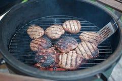 Hamburger della Turchia sulla griglia Fotografia Stock Libera da Diritti