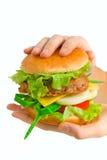 Hamburger, der in den Händen angehalten wird lizenzfreies stockbild