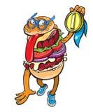 Hamburger, der eine Medaille empfing, die es geschmackvoll diese ist Lizenzfreie Stockfotografie