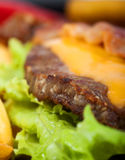 Hamburger detail. Detail of hamburguer with salad Stock Image