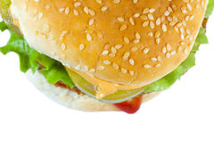 Hamburger detail. Detail of hamburguer with salad Stock Photo