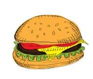 Hamburger di colore di vettore Fotografie Stock