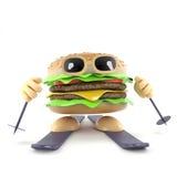 hamburger di corsa con gli sci 3d illustrazione di stock