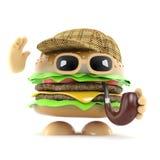 hamburger di 3d Sherlock illustrazione di stock