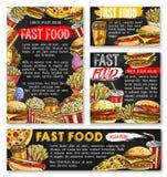 Hamburger di pasto rapido dei manifesti di schizzo di vettore degli alimenti a rapida preparazione illustrazione di stock