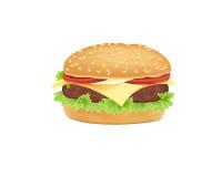 Hamburger di vettore, cheeseburger Immagini Stock