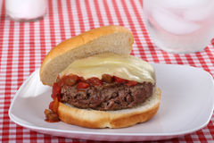 Hamburger die met gesmolten kaas en salsa wordt bedekt Stock Afbeeldingen