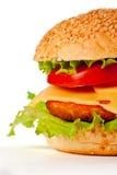 Hamburger die op wit wordt geïsoleerda Stock Foto