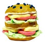 Hamburger die van plasticine wordt gemaakt stock foto