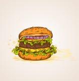 Hamburger disegnato a mano d'annata Immagini Stock