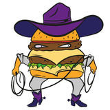 Hamburger divertente del cowboy, cheeseburger in un cappello e Fotografie Stock