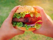 Hamburger do bife de costeleta da carne de porco Imagens de Stock