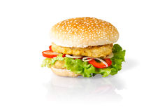Hamburger with double beaf. On white background with shadow and reflection Royalty Free Stock Photos