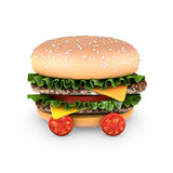 Hamburger with double steak, salad, and cherry tomatoes Stock Images