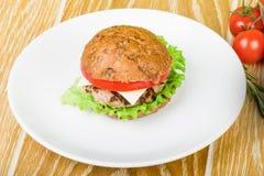 Hamburger du plat blanc Image libre de droits