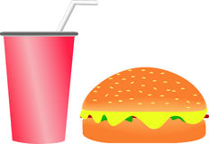 Hamburger e bibita Immagini Stock Libere da Diritti