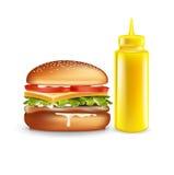 Hamburger e bottiglia della senape isolata Immagini Stock