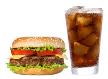 Hamburger e cola Fotografia Stock