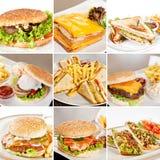 Hamburger e collage dei panini Immagine Stock Libera da Diritti