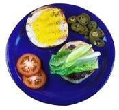 Hamburger e fixações Fotografia de Stock