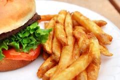 Hamburger e fritadas Fotografia de Stock