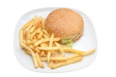Hamburger e fritadas imagens de stock