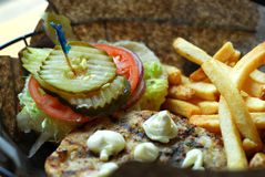 Hamburger e fritadas foto de stock