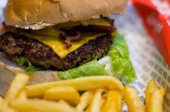 Hamburger e fritture Fotografia Stock