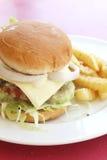 Hamburger e fritture su una zolla Fotografia Stock Libera da Diritti