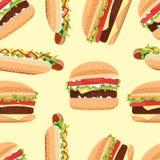 Hamburger e hot dog senza cuciture del modello Illustrazione di Stock