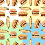 Hamburger e hot dog senza cuciture del modello degli alimenti a rapida preparazione Illustrazione di Stock