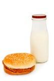 Hamburger e leite. Imagens de Stock Royalty Free
