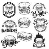 Hamburger e panini Logo scritto a mano dell'iscrizione, etichetta, distintivo Fotografia Stock