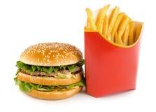 Hamburger e patata Fotografia Stock