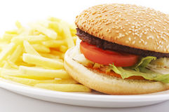 Hamburger e patate fritte Fotografia Stock